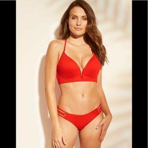 NWT Women's Sun Coast Cheeky Strappy Ribbed Bikini